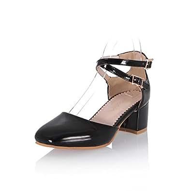 AllhqFashion Women's Square Closed Toe Buckle Pu Solid Kitten Heels Pumps Shoes, Black, 31