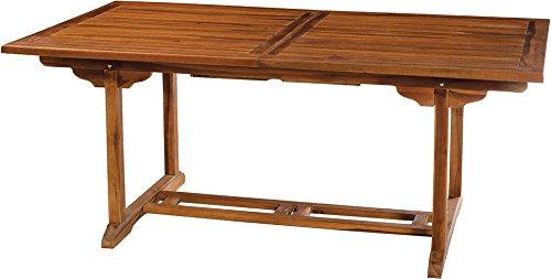 MACABANE 501190 Table rectangulaire Couleur Miel en Teck Dimension 180/240cm X 100cm X 75cm