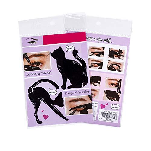 Wudi 1 Packung Frauen Cat Line Pro-Augen-Make-up Schnell Eyeliner Stencils Vorlage Shaper Modell Augen-Karte Werkzeug Schönheit (Schwarz)