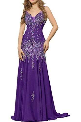 La_mia Braut Damen Chiffon V-ausschnitt Lang Abendkleider Ballkleider Abschlussballkleider mit Steine Dunkel Lila