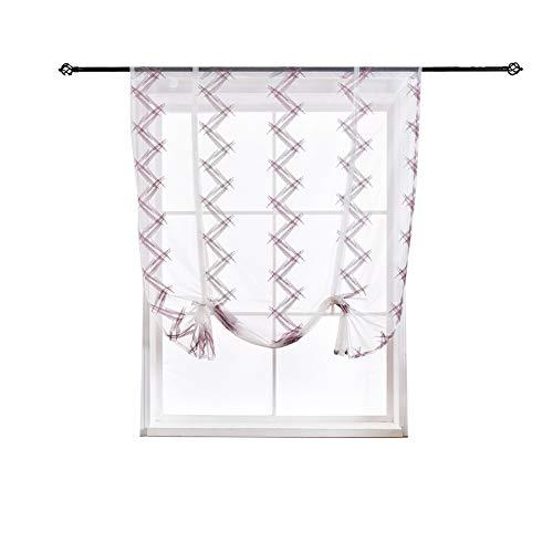 Sooki tende finestra traslucide trasparenti con motivi viola bianchi, pannelli semilavorati voile con geometria ogee ondulato stampato,46 * 63inch