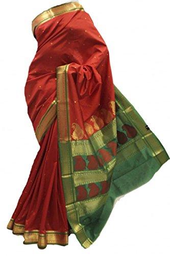 ASB3584 Marrone e Verde Saree di seta d'arte Indian Art Silk Saree Curtain Drape Fabric Maroon