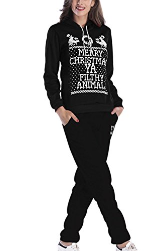 Frauen Im Winter Locker 2 Pieces Kapuzen - Sweatshirt Hat Weihnachten Print - Pullover Black (Animal Kostüme Print)