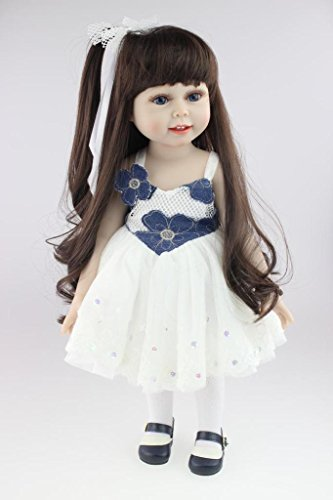 Nicery Schöne Mädchen Spielzeug Puppe High Soft Vinyl 18 Zoll 45cm Naturgetreue Movable Lächeln Prinzessin Blaues - 2. Für Klasse Die Halloween-spiele