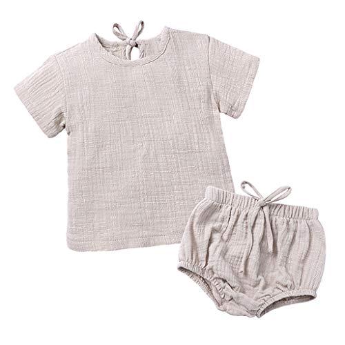 LEXUPE Kleinkind Kinder Baby Jungen Mädchen Kleidung Kurzarm Top T-Shirt Shorts Outfit Sets(Beige,110)