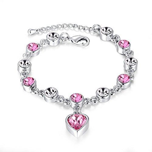 Armband mit Herzanhänger mit Funkelnden Rosa Swarovski Elements Kristall für Frauen Mädchen