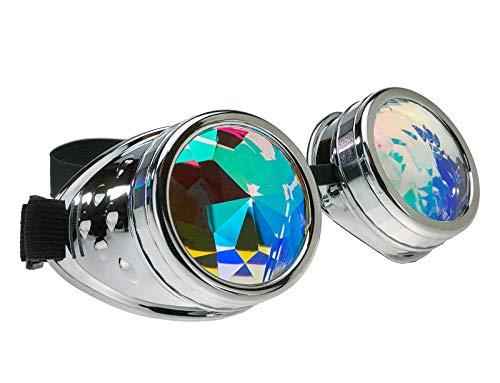 Preisvergleich Produktbild 4sold (TM Steampunk Antique Copper Cyber Goggles Rave Goth Vintage Victorian Like Sunglasses All Pictures (Kaleidoscope Goggles Silver)