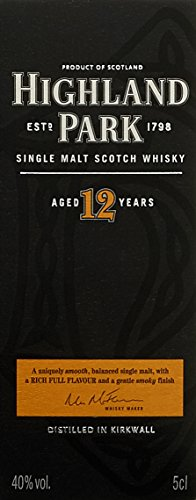 - 41c8SaVrlOL - Highland Park 12 Jahre Single Malt Whisky (1 x 0.35 l)