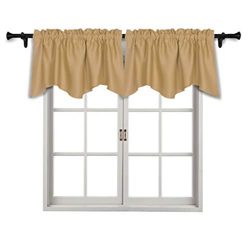 Suo ai textile - mantovana per finestra con occhielli, per cucina e camera da letto, valance golden, 2x42x18 inch