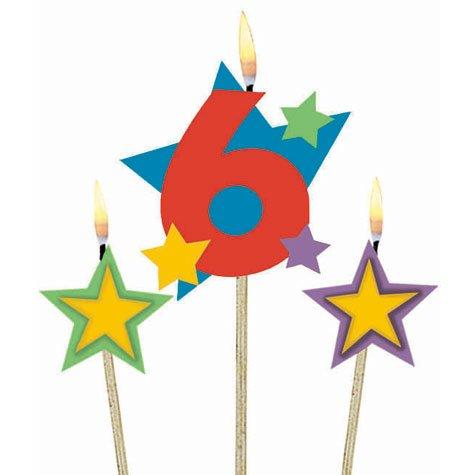 Sterne ZAHL 6 (Geburtstagskerzen Zahl 6)