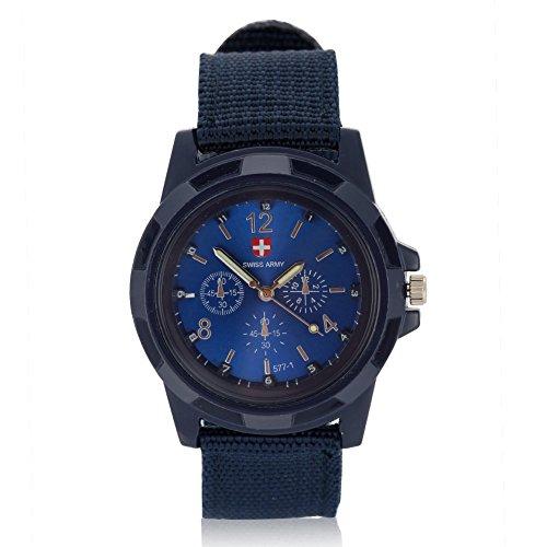Uhren für Männer, elektronische analoge Armbanduhr Runde Nylonarmband Militär Armbanduhr(Blau)