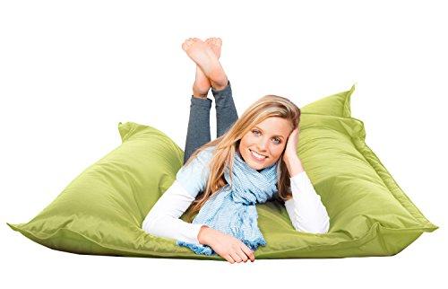 FETTI Sitzsack grün in 140 x 180 cm mit Füllung | Riesensitzsack | Indoor | Outdoor | XXL Sitzsack | Riesenkissen | Sitzkissen