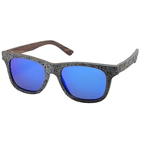 Wxx000 Sonnenbrille Zwei-Ton Reflektierende Linse Vintage Retro Style Classic Frame Unisex UV400 Schutz (Color : Blue)