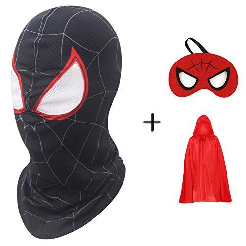 SEJNGF 3D Spiderman Masken Cosplay Kostüme Lycra Maske Superheld Halloween Kostüm Party Tuch Party Maske Requisiten Filme+ Augenmaske + Umhang (49,2 (Wirklich Coole Superhelden Kostüm)