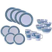 Vaisselle de camping en mélamine 16 pièces – 4 personnes – Vaisselle de camping en plastique avec assiettes, bols et…