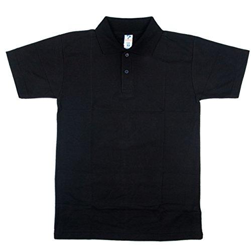 Neue OU Unisex Schuluniform Polo Shirt Sport Top Shirt verschiedene Farben Größen: 20-48 Schwarz - Schwarz