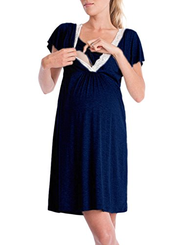 Pigiama allattamento elegante estivi manica corta splicing pizzo moda solido casuali incinta confortevole premaman pigiami corti vestiti