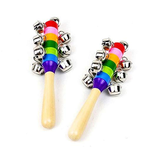 Carry stone Premium Qualität 2 Stücke Baby Rasseln Bunten Regenbogen Holz Glocke Instrumente Spielzeug With10 Percussion Glockenspiel für Jungen, Mädchen Mehrfarbig
