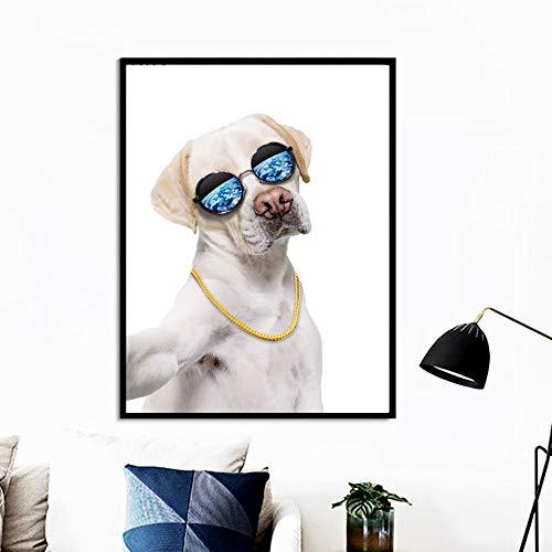 Menschlicher Hund Halskette Brille Kunst Leinwand Malerei Nordic Poster Wandbild Wohnzimmer Dekoration 50x70 cm