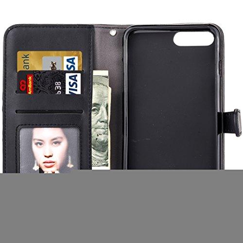 Phone case & Hülle Für iPhone 6 / 6s, Stickerei Blumenmuster Horizontale Flip Leder Tasche mit Halter & Card Slots & Wallet & Photo Frame ( Color : Brown ) Black