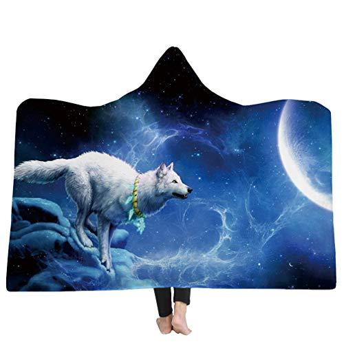 3D Wolf Tiermuster Bedruckte Decke, Super weiche Kapuzendecke für Erwachsene Kinder Tragbare Decke,Geeignet für Reisen/Camping / Mittagspause/Schlafsofa Decke Werfen (Style 4, 150cmx200cm) -