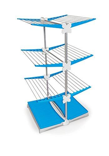 Meliconi Stendimeglio Junior Quadrifoglio Tendedero Vertical con Ruedas y Bandeja, Aluminio, Azul, 138x72.5x83 cm