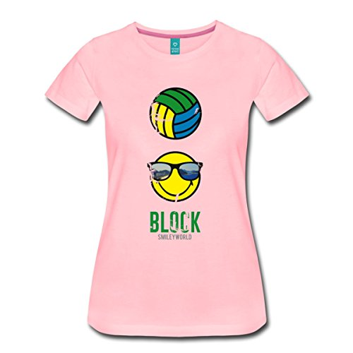 Spreadshirt Smiley World Block Beach Volleyball Frauen Premium T-Shirt, XXL, Pink