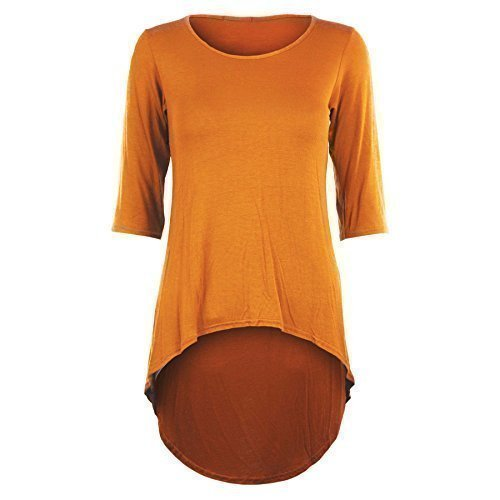 Damen 3/4-Ärmel, hohe Taille, enganliegend, Stretch, Eingetaucht Saum, Minikleid Top - Neon-orange - Fluoreszierend Leuchtend Hell, M/L - DE 40/42