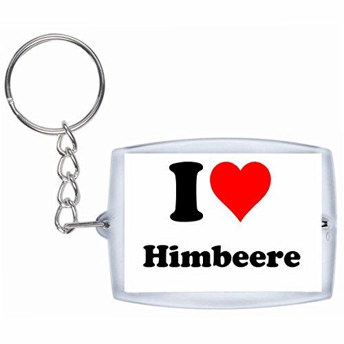 Druckerlebnis24 Schlüsselanhänger I Love Himbeere in Weiss, eine tolle Geschenkidee die von Herzen kommt| Geschenktipp: Weihnachten Jahrestag Geburtstag Lieblingsmensch - Frauen, Himbeere
