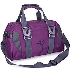 JohnJohnsen Impermeable portátil Profesional a Prueba de Agua Bolsa del Gimnasio del Deporte Hombres Mujeres Bolsa de Yoga Multifuncional Sport Training Bolso Femenino (púrpura)