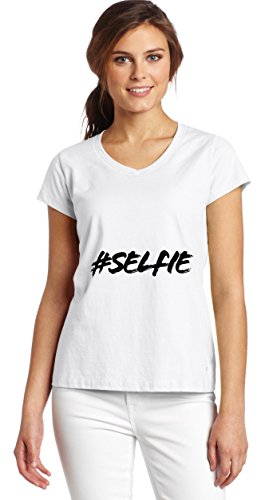 Hashtag Selfie Women's V-Neck T-Shirt XX-Large (Tote Bag Lady Girly)