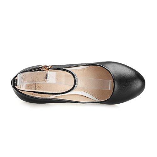 AgooLar Femme Boucle à Talon Haut Pu Cuir Mosaïque Rond Chaussures Légeres Noir