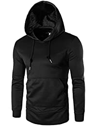 ELECTROPRIME Drawstring Side Zipper Kangaroo Pocket Hipster Hoodie Sweatshirt - B0775XN9CX