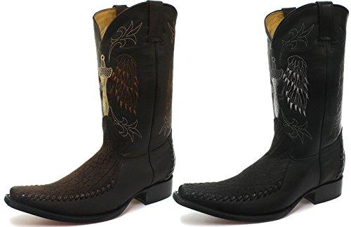 Neuf: Grinders Kansas Homme Cuir Western Cowboy Bottes