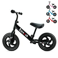"12"" Balance Bike Carbon Steel Frame No Pedal Walking Balance Bike Training Bicycle for Kids and Toddlers 2- to 6 Years Old (black)"