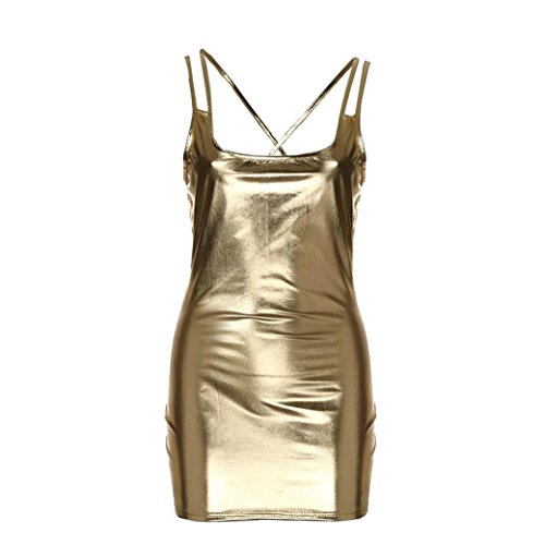 Damen Ärmellos Kleid Eng Anliegend PU Leder Clubwear Minikleid Leder V-Ausschnitt Stretch Clubwear Fetisch Party Dress Rückenfrei Metallic Minikleid Nachtclub Negligee (One Size, Gold) -