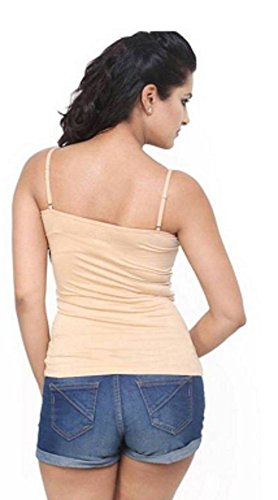 Women's Padded Camisole Built-in Bra With Removable And Adjustable Spaghetti Strap, Beige