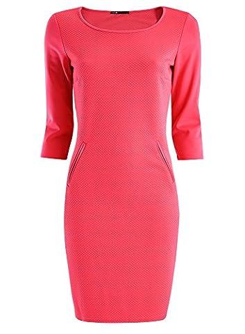 oodji Collection Damen Jersey-Kleid mit 3/4 Arm, Rosa, DE 36 / EU 38 / S