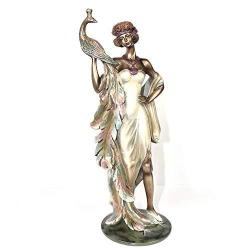 MASCARELLO Dekofigur Pfauenfigur aus Kunstharz, für Zuhause, Garten, Statuen Lady Göttin, Bronze, Statuen Skulptur Dekoration