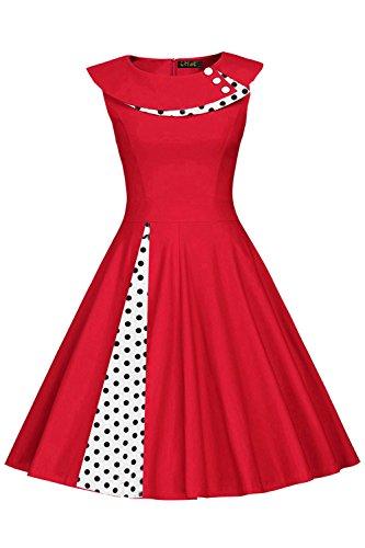 Ball Kleider Vintage Kostüm - MisShow Damen Ärmelos Polka-Dots Kleid 1950er-Jahre Swing Tellerrock Knielang Rot S