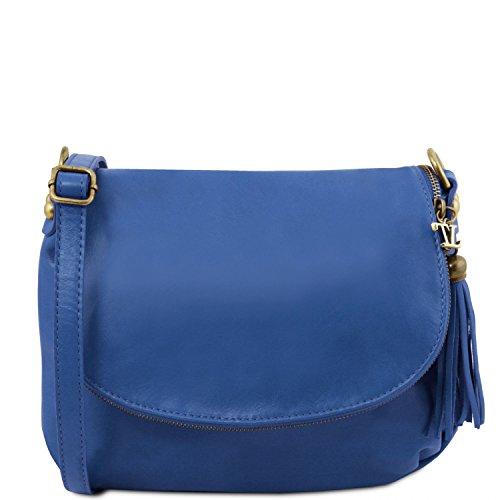 TL con morbida Bag nappa tracolla Borsa Tuscany Blu Cognac Leather a SzGUqLpMV