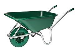 Heavy duty 110L Equestrian Garden plastic Wheelbarrow puncture proof Tyre (Green)