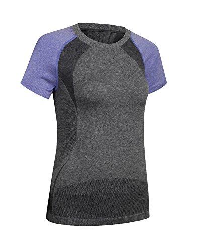 Femme Tops Séchage Rapide Pour Gym Sport Yoga Fitness Course T-Shirt À Manches Manches Courtes Violet