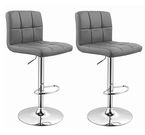 Duhome Barhocker 2X Barstuhl Kunstleder GRAU, Drehstuhl, Tresenhocker (Typ 9-451Y) Bar Sessel, gut gepolstert, Bodenschoner, mit verchromten Griff, höhenverstellbar, gut gepolstert mit Lehne, eckig