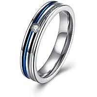 "Mujeres azul par boda banda anillo de compromiso ""Forever Love para su esposa novia novia SET acero inoxidable"