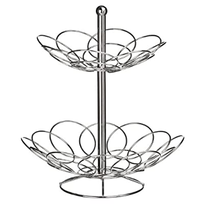 2 Tier Fruit Basket Made of Chrome With Ellipse Design & Awesome Look