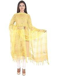 Home Shop Gift Yellow Jute Check Fabric Dupatta For Women