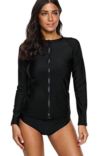Charmo Damen Rash Guard Langarm UV-Schutz Badeshirt Mit Reißverschluss Surf Shirt Bademode Schwimmshirt UPF 50+ Schwarz M