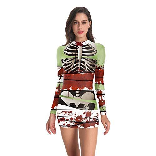 Floweworld Damen Halloween Bodycon Kleider Festlich Lang Elegant Langarm Freizeitkleid Skeleton Bloodstain Print Langarm Rollkragen Kleider Slim Fit Minikleider