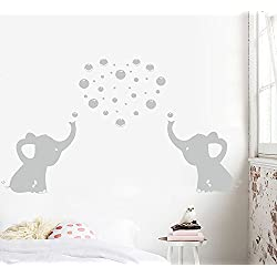 Adhesivo decorativo de pared con diseño de dos bonitos elefantes que soplan burbujas de cara a cara para decoración de pared de bebé, guardería, habitación de bebé, habitación de niños, tamaño final: 121,92 x 60,96 cm